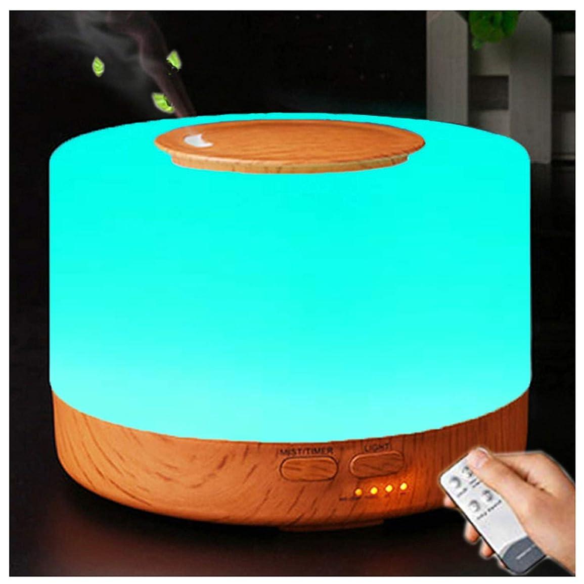 寄付リル万歳アロマディフューザー 加湿器, 卓上 大容量 超音波加湿器, 500ML 保湿 時間設定 空焚き防止 7色変換LED搭載 (木目調)