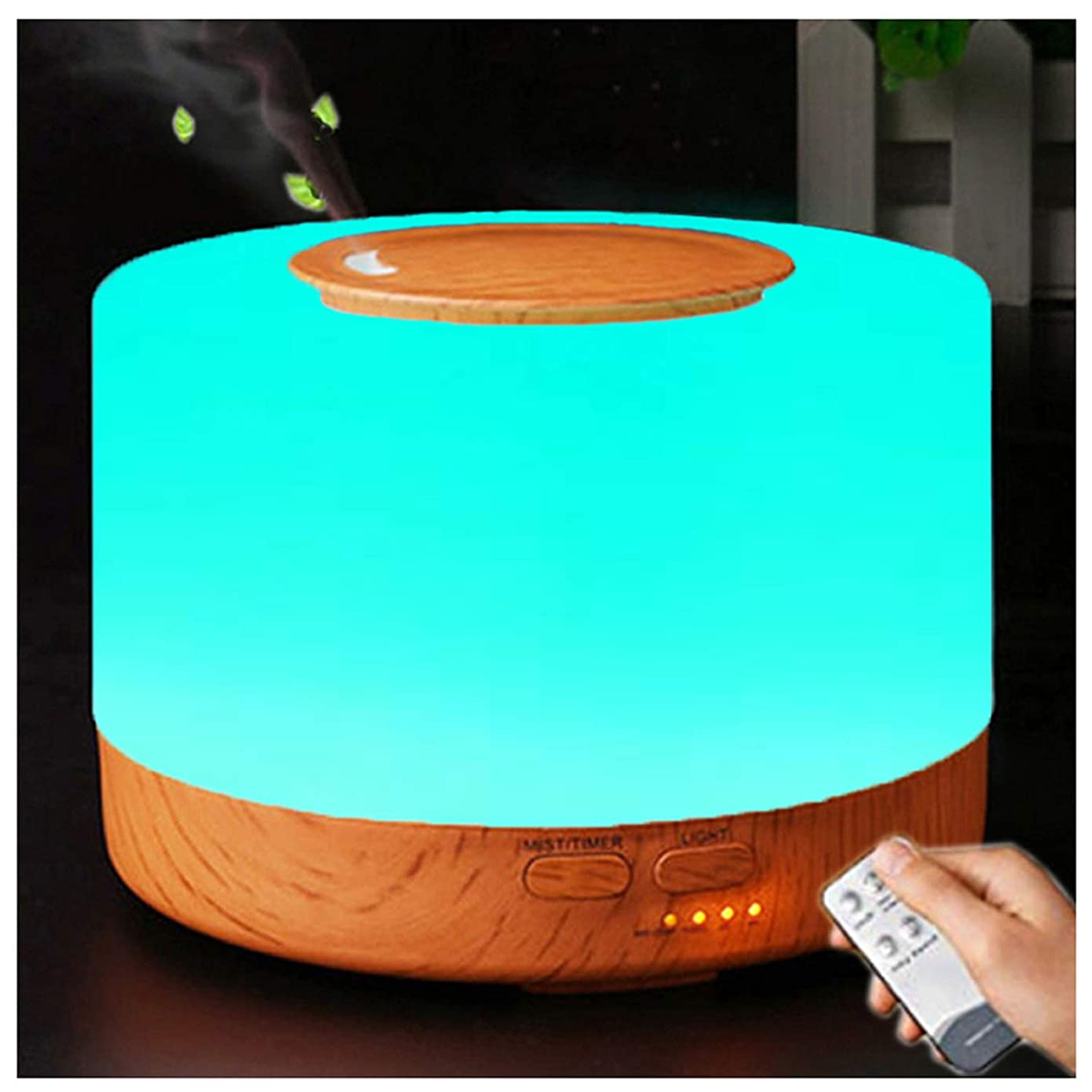 現実的誘発する空中アロマディフューザー 加湿器, 卓上 大容量 超音波加湿器, 500ML 保湿 時間設定 空焚き防止 7色変換LED搭載 (木目調)
