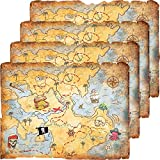 4 Pieces Treasure Map Party Accessory Gold Mind Treasure Map for Pirate Party Costume Birthday Party Accessory Vintage Retro Style