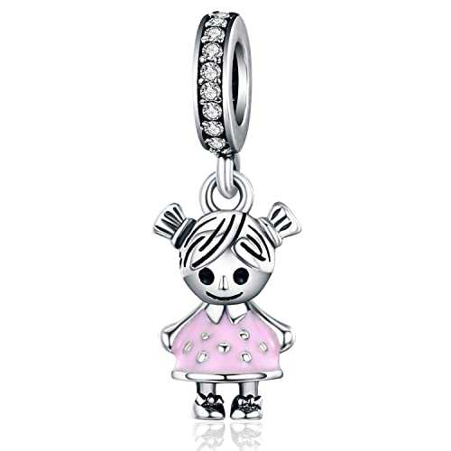 fb48c78fb Little Girl Charm Pink Enamel CZ Dangle Charms fit Pandora Bracelet Necklaces  Jewelry Birthday Gifts