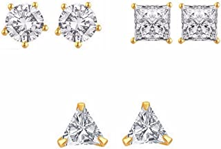 Archi Collection Party Wear Metal Gold Plated and American Diamond Stud Earrings for Women, White