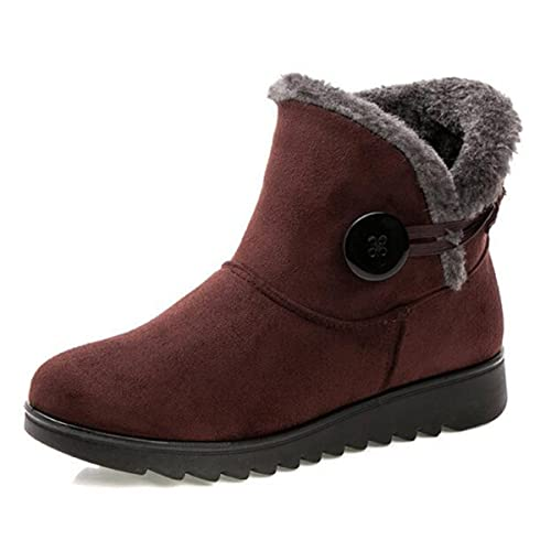 f7e85a68373c Slduv7 Fur Lined Womens Snow Boots Flock Winter Button Pull On Ankle  Booties Shoes