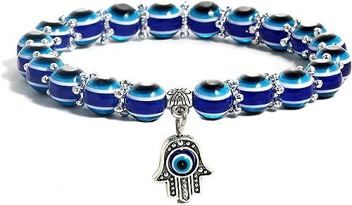 SUMMER LOVE Evil Eye Hamsa Blue Beaded Charm Stretch Bracelet Hand of Fatima Turkish Evil Eye Lucky Bracelet for Prot...