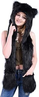 AIVTALK Damen Künstliches Fell Tiere Mütze Schal Winter Warm Kapuzenschal mit Ohrenschutz Handschuhe Fellmütze 3-in-1 Kapuze Allerheiligen Kostüme Plüsch Schals Farbe Wählbar