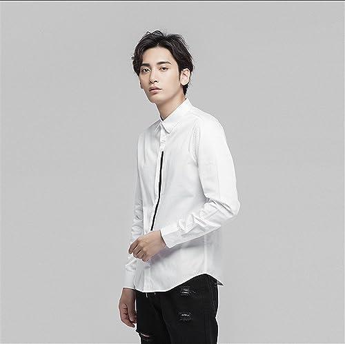 Homme Chemise à Manches Longues, Un t - Shirt Blanc et Pur Coton Homme Chemise à Manches Longues,blanc,XXL