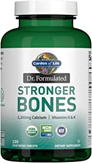 Garden of Life Dr. Formulated Stronger Bones, Organic Calcium Supplement with Vitamin D & Vitamin K for Bone Health, Bone ...