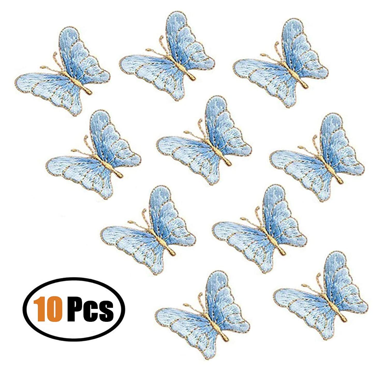 10 Pack Delicate Embroidered Patches, Butterfly Embroidery Patches, Iron On Patches, Sew On Applique Patch, Custom Backpack Patches for Boys, Girls, Kids, Super Cute! (Blue)