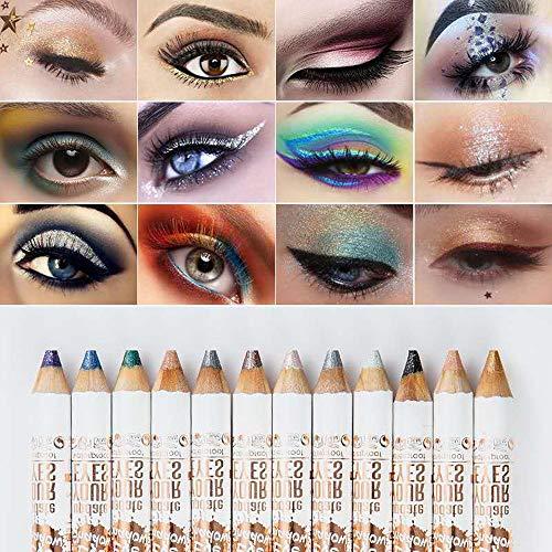 Aotoer 12 Farben wasserdichter Lidschatten-Stift, lang anhaltender Glitzer, Lidschatten, Augenbrauenstifte, Kosmetikstift, Malset, Make-up-Set für Damen und Mädchen