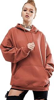Brick Red Round Neck Hoodie & Sweatshirt For Women