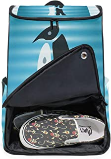 DEZIRO - Mochila para ordenador portátil, color blanco y negro, para mujer y hombre, colegio, colegio, mochila de negocios, mochila para negocios.