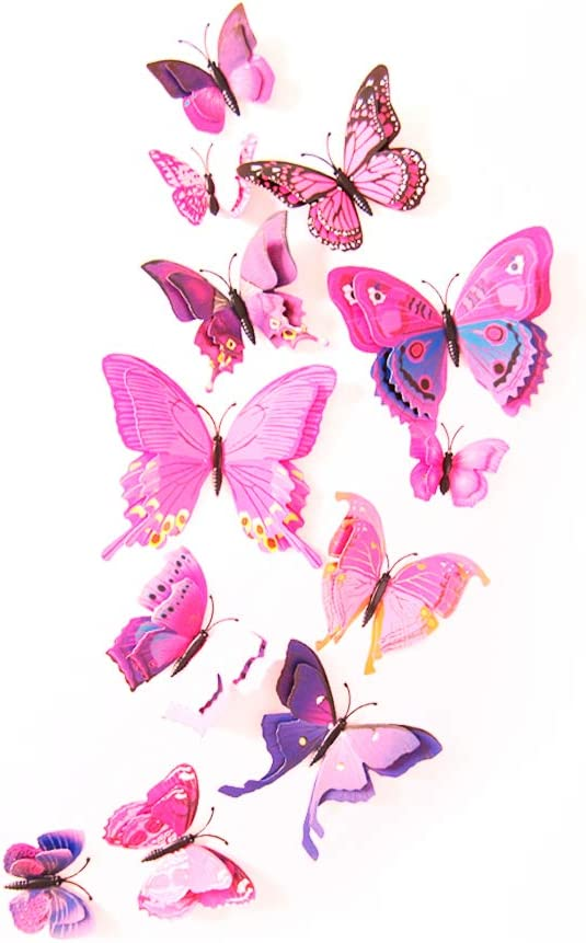 12 Pcs Colorful Butterfly 3D Wall Stickers DIY Art Decor Crafts Room Decoration (Pink)