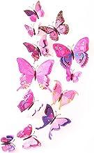feng biao 12 Stks Kleurrijke Vlinder 3D Muurstickers DIY Art Decor Ambachten Kamer Decoratie (Roze)