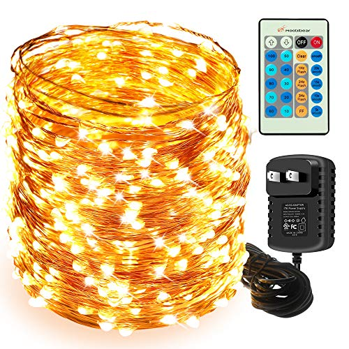 Moobibear 164FT Ultra Long String Lights, Waterproof 500 LED Dimmable Copper Wire Lights, UL Listed Plug in Fairy Light Warm White with Remote Control for Room, Patio, Wedding, Party, Christmas Tree