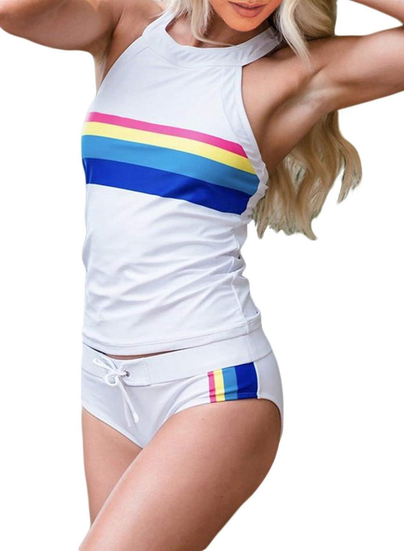 ROSKIKI Women's Sleeveless Rainbow Swimsuit Surfing Swimwear Retro Tankini