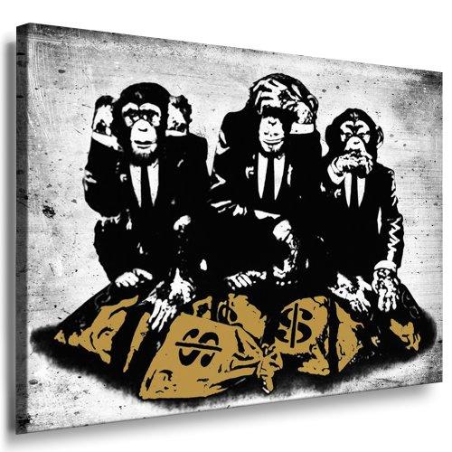 artfactory24 Banksy Graffiti – Monkey Street Art Graffiti – Impression sur toile sur châssis – Impression d'art sur toile, tableau mural, poster, peintures, art déco pop art