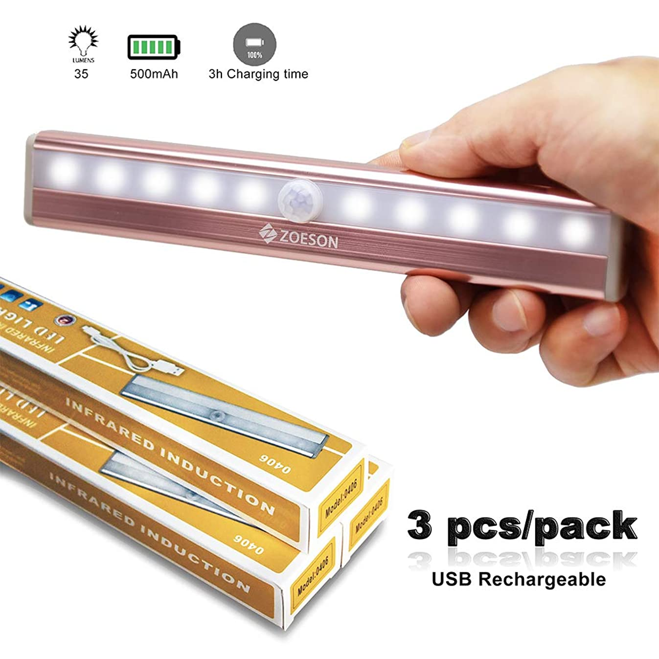 Zoeson 10 LED 3-Pack Motion Sensor Night Light Closet Light Under Cabinet Light with Built-in 500mah Li Battery(Rosegold with Cool Colors)