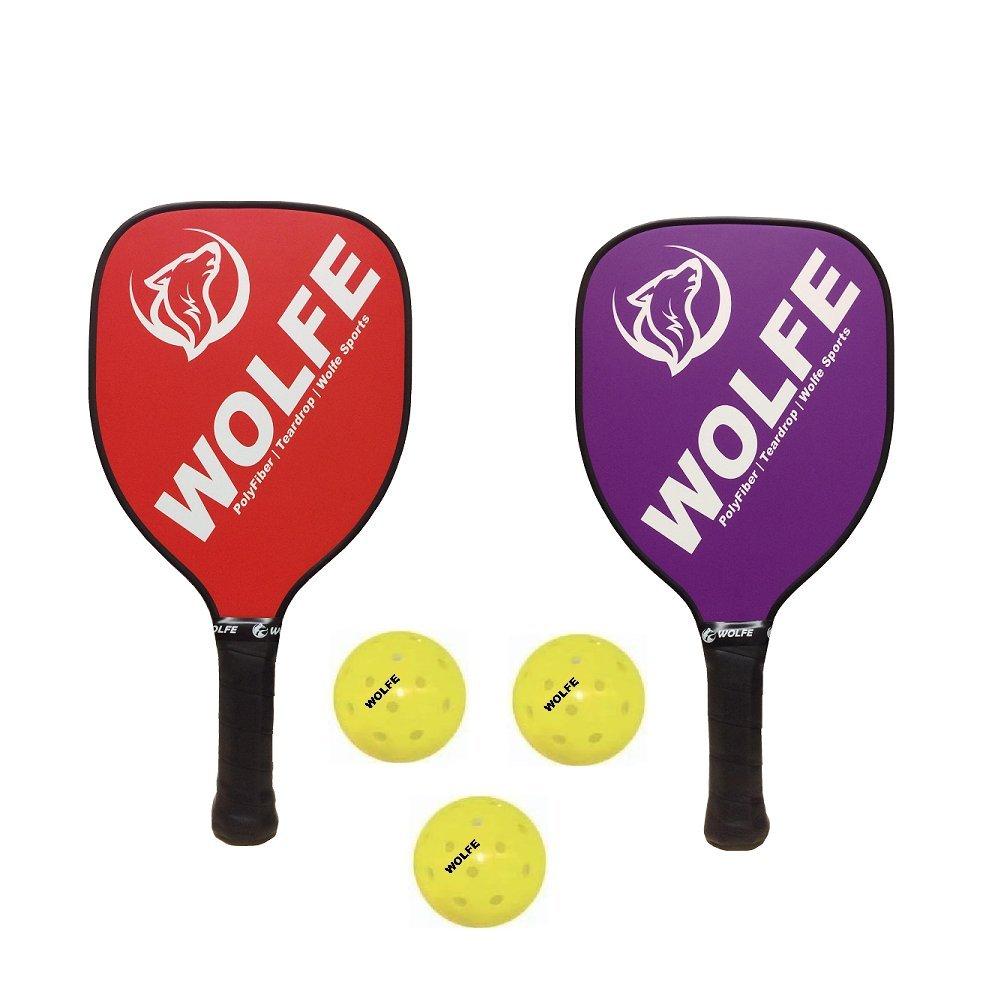 Wolfe Teardrop Poly/Fiber Pickleball Paddle Set