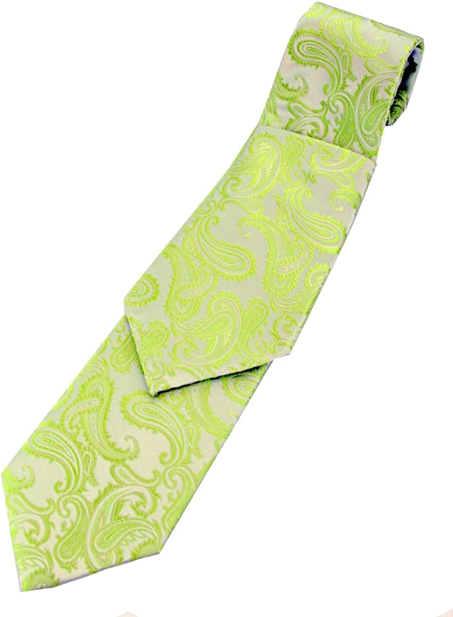 Brand Q Paisley Men's Necktie and Pocket Square set in Lime