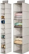 mDesign Fabric Over Rod Hanging Closet Storage Organizers, Includes a Wide 6-Shelf Sweater Organizer, and a Narrow 10-Shelf Shoe Rack - Chevron Zig Zag Print - Set of 2 - Taupe/Natural