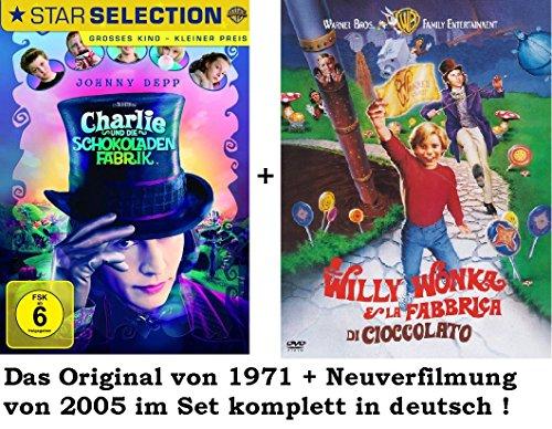 Dvd Set Charlie und die Schokoladenfabrik, deutsch, Original + Remake/Neuverfilmung, 1971+2005 Willy Wonka
