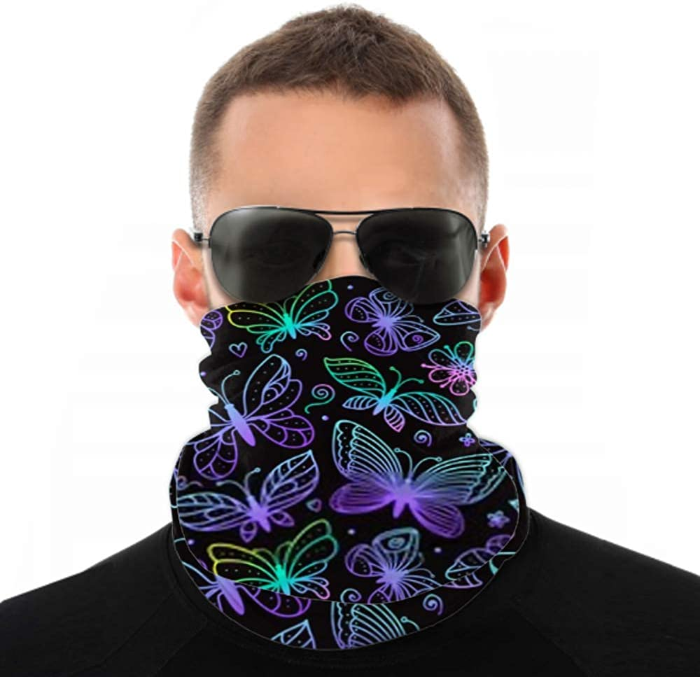 Headbands For Men Women Neck Gaiter, Face Mask, Headband, Scarf Bright Butterflies Seamless Pattern Coloring Hand Turban Multi Scarf Double Sided Print Hair Bandanas For Women For Sport Outdoor