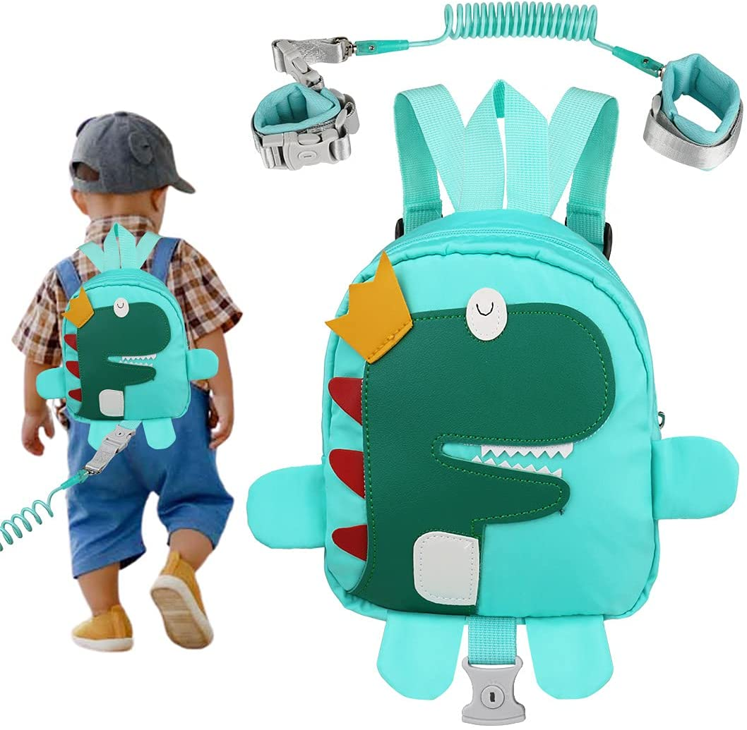 Backpack Leash for Toddlers, Yuepin 3 in 1 Dinosaur Kids Backpack Harness + Baby Anti Lost Wrist Link for 1-5 Years Old Boys Girls Child Backpack Toddler Leash (Dinosaur blue)