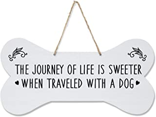 """LifeSong Milestones Pet Quote Dog Bone Wall Hanging Sign, Dog Lovers Gifts for Women, Dog Owner Gift for Home Decor, 8"""" x 16"""" (White The Journey)"""