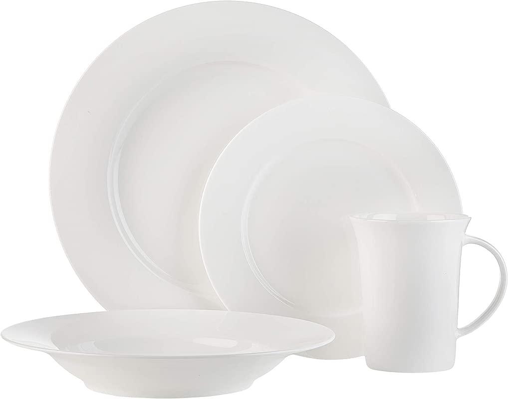 White Bone China 16 Piece Dinnerware Set Herrick By Godinger Service For 5