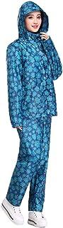 春のモデル アウトドア 防水 レインコート 青 花 セット (サイズ : XL)