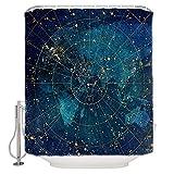 dxycfa Duschvorhang Badewanne Planet Duschvorhang Anti Schimmel, Badewanne Vorhang Antibakteriell,Wasserdicht Undmit 12 Ringe 180X180Cm 72 X 72 Zoll