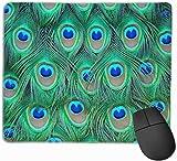 Mauspad Pfauenfedern rutschfeste Gummibasis Verärgert wasserdichte Mausunterlage für Laptop, Computer, PC, Tastatur
