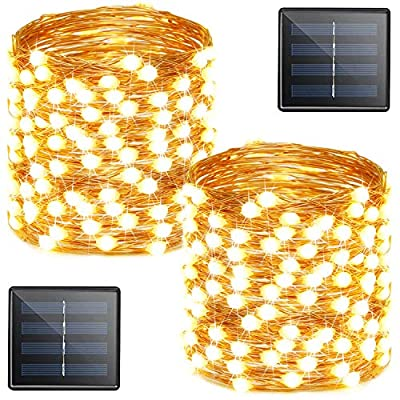 Outdoor Solar String Lights (2-Pack Each 72ft 200LED), Upgraded Ultra-Bright Solar Lights Outdoor, Waterproof Copper Wire 8 Mode Solar Powered Fairy Lights for Patio Garden Yard Party (Warm White)