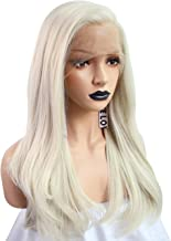 Anogol Hair Cap+Blonde Lace Front Wig Long Wavy Synthetic Hair Wig for Women Front Lace Glueless Wig