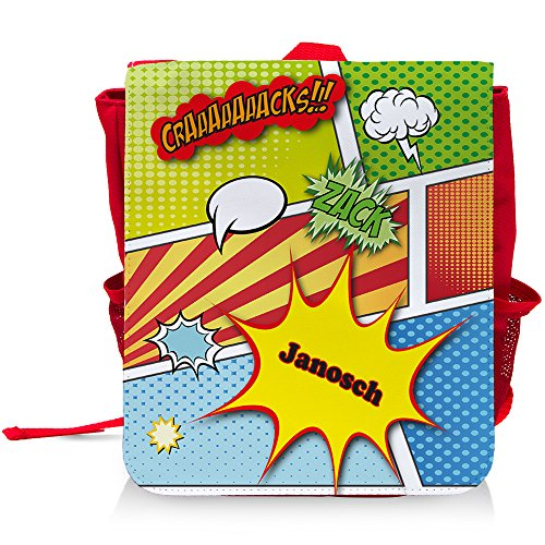 Kinder-Rucksack mit Namen Janosch und schönem Comic-Motiv für Jungen