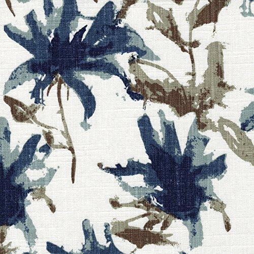 Close to Custom Linens Kendal Regal Blue Watercolor Floral Bradford Valance Cotton Kendal Back Layer
