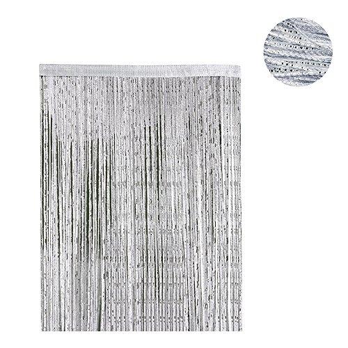 Enjoygoeu_ES Cortina Borla de Puerta Sliver 200 * 100cm Metálico de la Cadena de Plata Puerta Decorativa para la Sala de Ventana Borla de la Fiesta de la Boda (Grey)