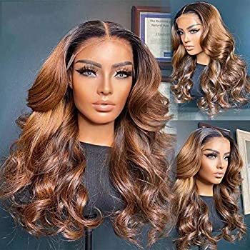 QUINLUX WIGS #1b30 Color Body Wave Human Hair Wigs 180% Density HD Transparent Lace Human Hair Wigs 13x6 Lace Front Wig Pre Plucked Brazilian Remy Human Hair Glueless Wig For Black Women18 Inch