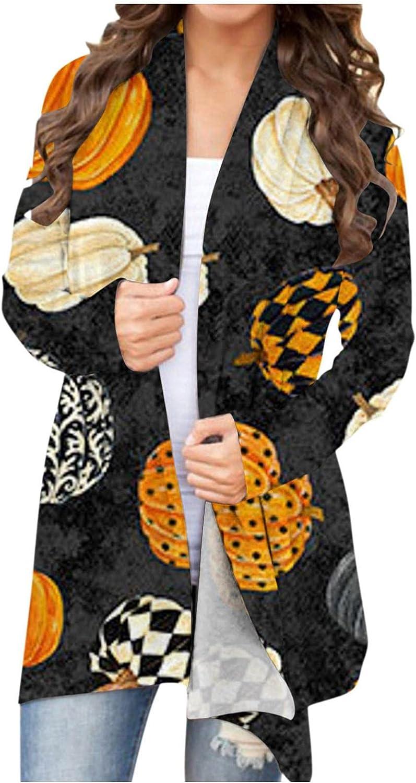 Gibobby Halloween Cardigan for Women,Women Lightweight Sweaters Pumpkin Graphic Print Long Sleeve Open Front Casual Coat