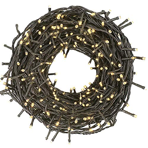 Twinkle Star 66ft 200 LED Christmas Tree String Lights UL Safe Certified Outdoor Fairy Lights Plug in, Expandable Green Wire Clear Bulbs Mini Lights 8 Modes, Xmas Wedding Party Decoration, Warm White