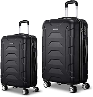 Wanderlite 2 Pcs Lightweight Luggages Hard Suitcases and Scale, Black