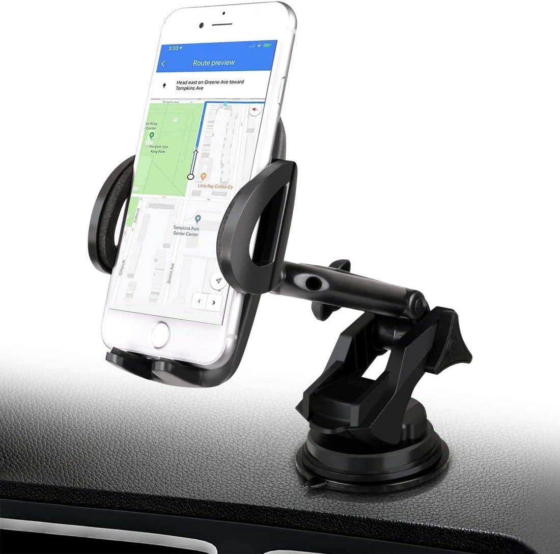 BTMAGIC Car Phone Mount, Dashboard Car Phone Holder, Ultimate Hands-Free Phone Holder for Car Dashboard, Washable Super Suction Cup (Black2)