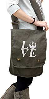 I Love Rebel Alliance 14 oz. Authentic Pigment-Dyed Canvas Field Bag Tote Green