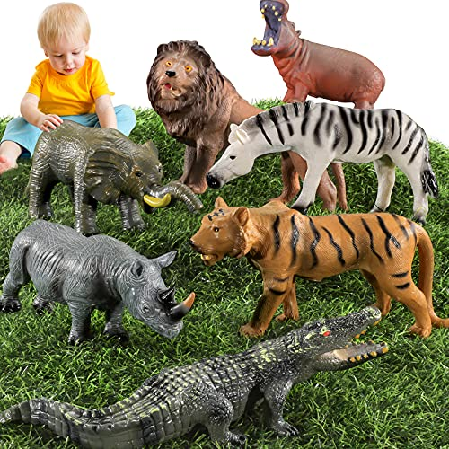 TEMI 7 Pieces Jumbo Animals Toys for Kids and Toddlers Realistic Jungle Wild Zoo Animals Figures Playset with Elephant  Lion  for Boys & Girls Educational Learning Playset for Children