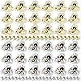 40 Pcs Round Head Rivet Studs DIY Leather Craft Rivets with Pull Ring Metal Rivet Studs, for Purse Wallet Phone Case Handbag Decoration Bag Shoes (Silver, Golden)