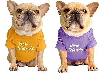 LAVRCJ Dog Shirt 2 Packs Breathable Soft Cotton Shirt Pet Dog Cat T-Shirt Cute Dog Clothing Puppy Clothes French Bulldog C...