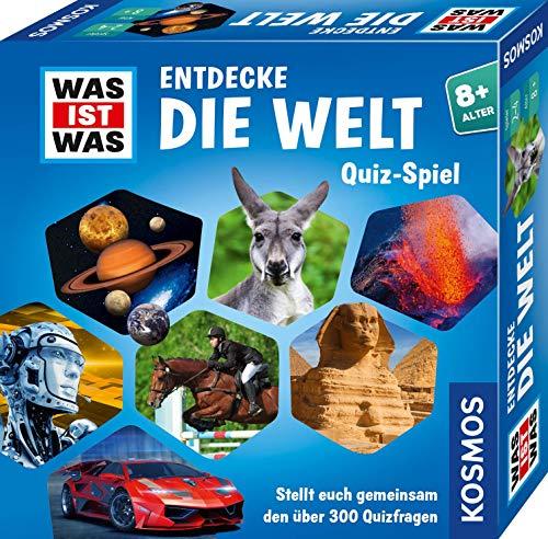 KOSMOS WAS IST WAS Entdecke die Welt, Quiz-Spiel, über 300 Quiz-Fragen, kooperatives Wissensspiel für Kinder und Jugendliche ab 8 Jahre, Rate-Spaß, Familienspiel