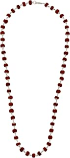 Jewel99 Sterling Silver Rudraksha Chain for Men and Women (20 Inches)