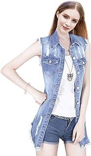 Dasior Women's Distressed Sleeveless Long Denim Cardigan Vest Jean Jacket Plus Size