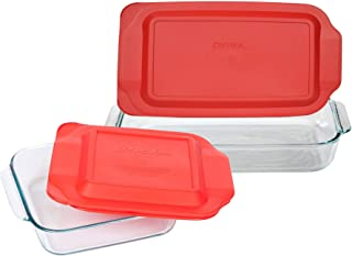 Pyrex Basics Clear Glass Baking Dishes, 1 (3 Quart) Oblong Dish and 1 (2 Quart) Square Dish with Red Plastic Lids