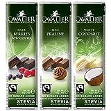 Dafortos Cavalier - Stevia-Schokoriegel-Auswahl I - 3x40g - Dunkle Beere, Milch-Praliné, Weißer Kokos